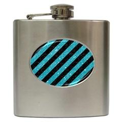 Stripes3 Black Marble & Turquoise Glitter (r) Hip Flask (6 Oz) by trendistuff