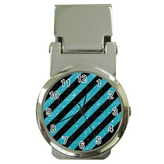 Stripes3 Black Marble & Turquoise Glitter (r) Money Clip Watches by trendistuff