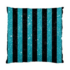 Stripes1 Black Marble & Turquoise Glitter Standard Cushion Case (two Sides) by trendistuff