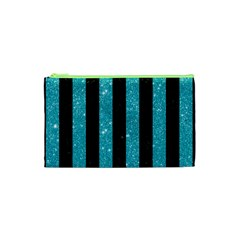 Stripes1 Black Marble & Turquoise Glitter Cosmetic Bag (xs) by trendistuff