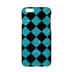 Square2 Black Marble & Turquoise Glitter Apple Iphone 6/6s Hardshell Case by trendistuff