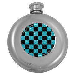 Square1 Black Marble & Turquoise Glitter Round Hip Flask (5 Oz) by trendistuff