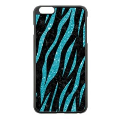 Skin3 Black Marble & Turquoise Glitter (r) Apple Iphone 6 Plus/6s Plus Black Enamel Case by trendistuff