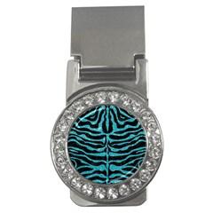 Skin2 Black Marble & Turquoise Glitter (r) Money Clips (cz)  by trendistuff