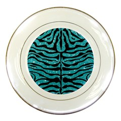 Skin2 Black Marble & Turquoise Glitter Porcelain Plates by trendistuff