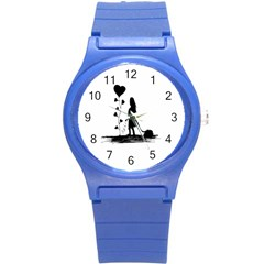 Sowing Love Concept Illustration Small Round Plastic Sport Watch (s) by dflcprints
