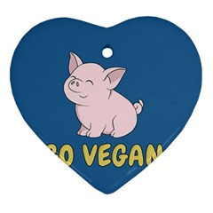 Go Vegan   Cute Pig Ornament (heart) by Valentinaart