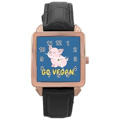 Go Vegan   Cute Pig Rose Gold Leather Watch  by Valentinaart