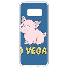 Go Vegan   Cute Pig Samsung Galaxy S8 White Seamless Case by Valentinaart