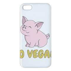 Go Vegan   Cute Pig Apple Iphone 5 Premium Hardshell Case by Valentinaart