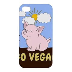 Go Vegan   Cute Pig Apple Iphone 4/4s Premium Hardshell Case by Valentinaart