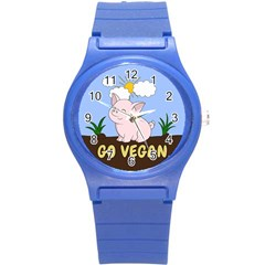 Go Vegan   Cute Pig Round Plastic Sport Watch (s) by Valentinaart