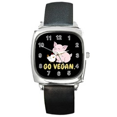 Go Vegan   Cute Pig And Chicken Square Metal Watch by Valentinaart
