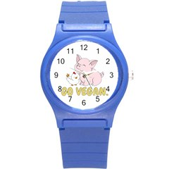 Go Vegan   Cute Pig And Chicken Round Plastic Sport Watch (s) by Valentinaart