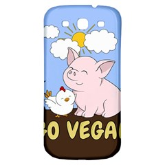 Go Vegan   Cute Pig And Chicken Samsung Galaxy S3 S Iii Classic Hardshell Back Case by Valentinaart