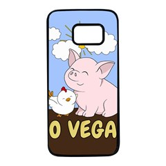 Go Vegan   Cute Pig And Chicken Samsung Galaxy S7 Black Seamless Case by Valentinaart