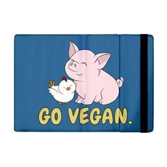 Go Vegan   Cute Pig And Chicken Apple Ipad Mini Flip Case by Valentinaart