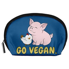 Go Vegan   Cute Pig And Chicken Accessory Pouches (large)  by Valentinaart