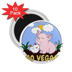 Go Vegan   Cute Pig And Chicken 2 25  Magnets (10 Pack)  by Valentinaart