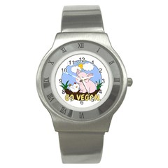 Go Vegan   Cute Pig And Chicken Stainless Steel Watch by Valentinaart