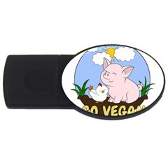 Go Vegan   Cute Pig And Chicken Usb Flash Drive Oval (4 Gb) by Valentinaart