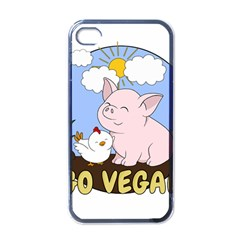 Go Vegan   Cute Pig And Chicken Apple Iphone 4 Case (black) by Valentinaart