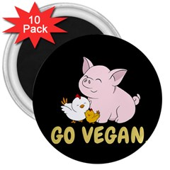 Go Vegan   Cute Pig And Chicken 3  Magnets (10 Pack)  by Valentinaart