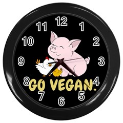 Go Vegan   Cute Pig And Chicken Wall Clocks (black) by Valentinaart