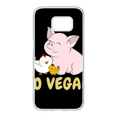 Go Vegan   Cute Pig And Chicken Samsung Galaxy S7 Edge White Seamless Case by Valentinaart