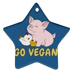 Go Vegan   Cute Pig And Chicken Ornament (star) by Valentinaart