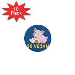 Go Vegan   Cute Pig And Chicken 1  Mini Buttons (10 Pack)  by Valentinaart