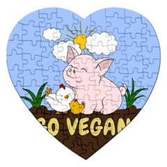 Go Vegan   Cute Pig And Chicken Jigsaw Puzzle (heart) by Valentinaart