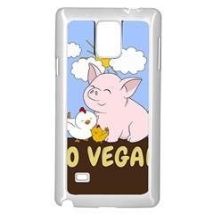 Go Vegan   Cute Pig And Chicken Samsung Galaxy Note 4 Case (white) by Valentinaart