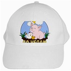 Go Vegan   Cute Pig And Chicken White Cap by Valentinaart