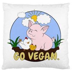 Go Vegan   Cute Pig And Chicken Standard Flano Cushion Case (one Side) by Valentinaart