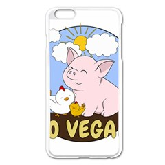 Go Vegan   Cute Pig And Chicken Apple Iphone 6 Plus/6s Plus Enamel White Case by Valentinaart
