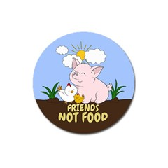 Friends Not Food   Cute Pig And Chicken Magnet 3  (round) by Valentinaart