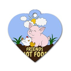 Friends Not Food   Cute Pig And Chicken Dog Tag Heart (one Side) by Valentinaart