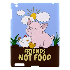 Friends Not Food   Cute Pig And Chicken Apple Ipad 3/4 Hardshell Case by Valentinaart