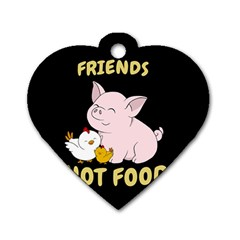 Friends Not Food   Cute Pig And Chicken Dog Tag Heart (two Sides) by Valentinaart