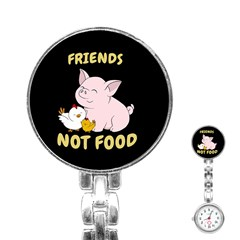 Friends Not Food   Cute Pig And Chicken Stainless Steel Nurses Watch by Valentinaart