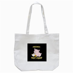 Friends Not Food   Cute Pig And Chicken Tote Bag (white) by Valentinaart
