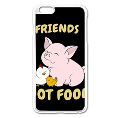 Friends Not Food   Cute Pig And Chicken Apple Iphone 6 Plus/6s Plus Enamel White Case by Valentinaart