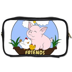 Friends Not Food   Cute Pig And Chicken Toiletries Bags 2 Side by Valentinaart