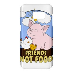Friends Not Food   Cute Pig And Chicken Samsung Galaxy S7 Hardshell Case  by Valentinaart