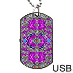 Spring Time In Colors And Decorative Fantasy Bloom Dog Tag Usb Flash (two Sides) by pepitasart