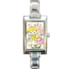 Rabbits 1731749 1920 Rectangle Italian Charm Watch by vintage2030