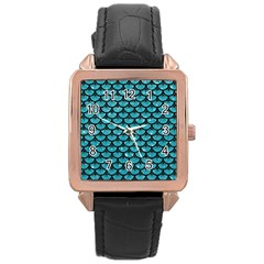 Scales3 Black Marble & Turquoise Glitter Rose Gold Leather Watch  by trendistuff
