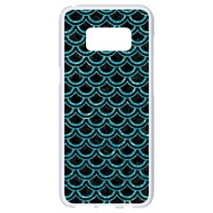 Scales2 Black Marble & Turquoise Glitter (r) Samsung Galaxy S8 White Seamless Case by trendistuff