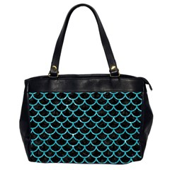 Scales1 Black Marble & Turquoise Glitter (r) Office Handbags (2 Sides)  by trendistuff